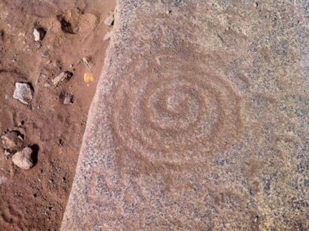 An ancient pattern carved into a stone at Caral. (Goshen College)