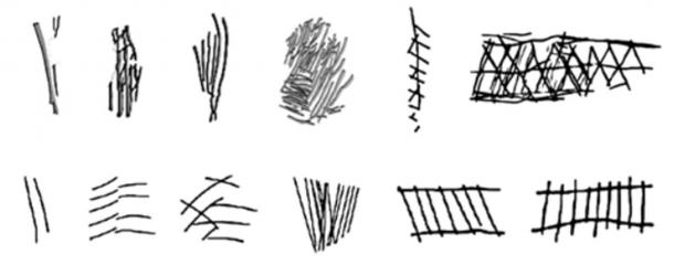 This is how the Stone Age patterns have evolved over 40,000 years. From the left are the very early ones,which are about 100,000 years old, while those on the right are about 60,000 years old