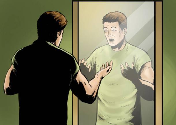 Paul Dienach looking at the mirror