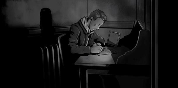 Paul Amadeus Dienach writing illustration