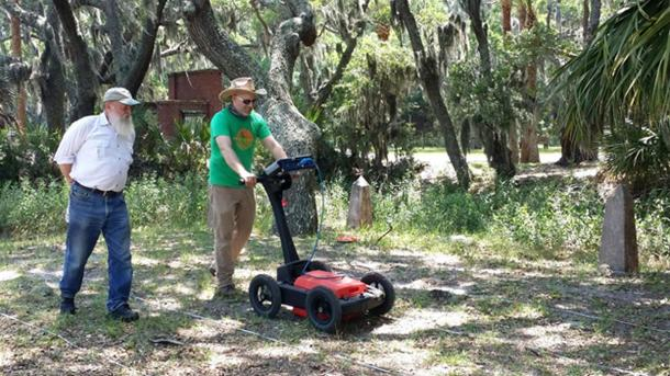Chester DePratter (left) and Victor D. Thompson (right) run ground penetrating radar at Santa Elena.