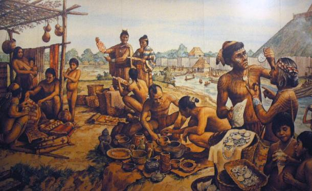 The people of Cahokia. Illustration at Cahokia Mounds State Historic site