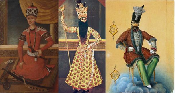 Mohammad Khan Qajar, the founder of the Qajar dynasty of Iran, Fath Ali Shah, and Naser al-Din Shah by Abul Hasan.