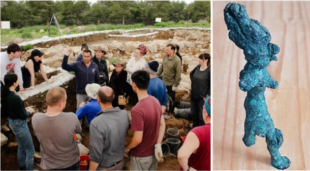 Left: Just minutes after a seal is discovered among the dirt at the Ziklag excavation site, Saar Ganor of the Israel Antiquities Authority holds the precious artifact up for the team to see. (Macquarie University) Right: Smiting statue: The partially intact figurine wears a tall hat and would have had its right arm raised and its other arm held out in front, possibly holding a weapon such as a spear. (The Hebrew University of Jerusalem)