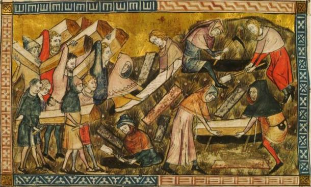 The people of Tournai bury victims of the Black Death (Wikimedia Commons)