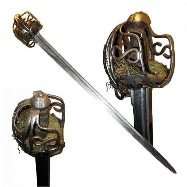 """An example of a """"perfect"""" basket-hilted broadsword that is similar to the one Fionntan Hughes found with his new metal detector in Northern Ireland. (Rama / CC SA-BY 2.0)"""