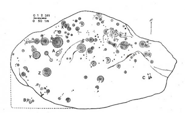 Map of the petroglyphs on the Cochno Stone.