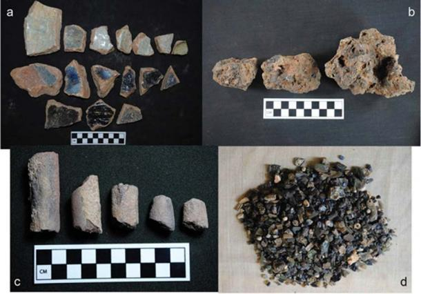 Photos showing (a) crucible fragments; (b) vitrified clay; (c) ceramic cylinders; and (d) glass bead production debris. The blue likely came from cobalt.