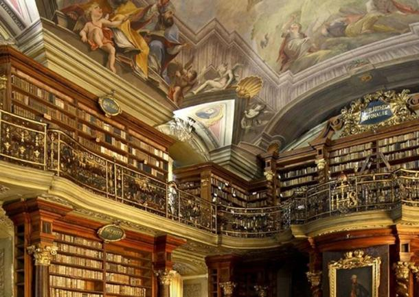 A photo of the hall of the Clementinum Library.
