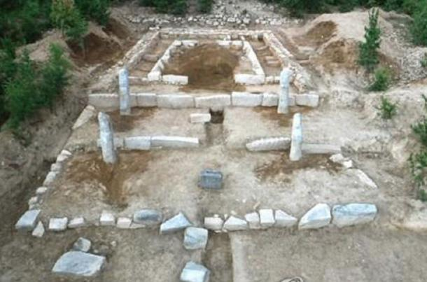 This photo released by the Korean Central News Agency on Aug. 19, 2017, shows the mausoleum of Goguryeo King Suk Jong discovered in North Korea's Kaesong.