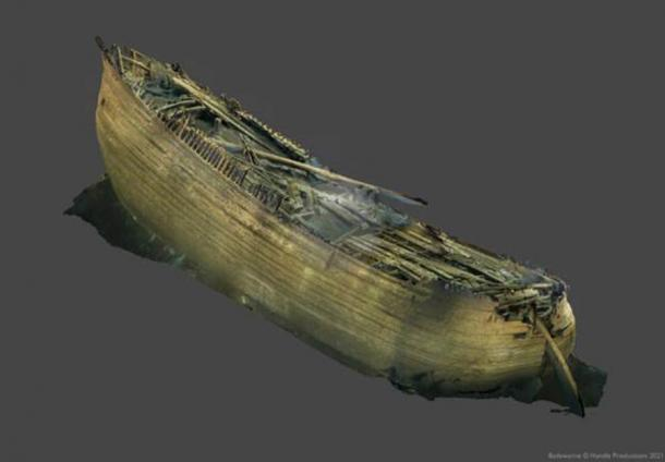 A 3D photogrammetric model of the fluyt Baltic Sea ship as it was found on the Baltic Sea floor. Orthometric projection model made with Metashape software. (Handle Productions)