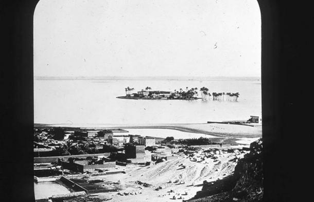 A photograph Petrie took of his view from the tomb he lived in in Giza, 1881.