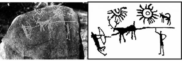 Left, photograph of the petroglyphs. Right, a sketch of it. (Image: IGNCA)