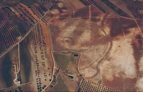 """An aerial photograph of the Perdigões complex in Portugal where the Neolithic """"Woodhenge"""" was recently found. (Perdigões Research Program)"""