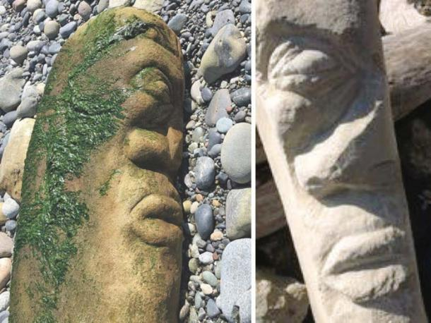 Left: Photograph by Bernhard Spalteholz of the beached Canadian artwork. Right: Photo by Victoria artist Ray Boudreau of a rock he carved back in 2017 which he believed had been stolen.