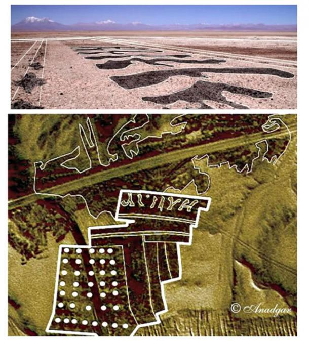 Two of the photographs (satellite and ground level), where you can see large geoglyphs representing figures and possible letters or ideograms.