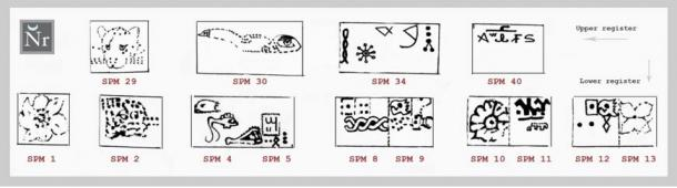 Figure 4: Artistic reproduction of the 'additive' pictographs constructed along the Socos Pampa Mosaic geoglyph.