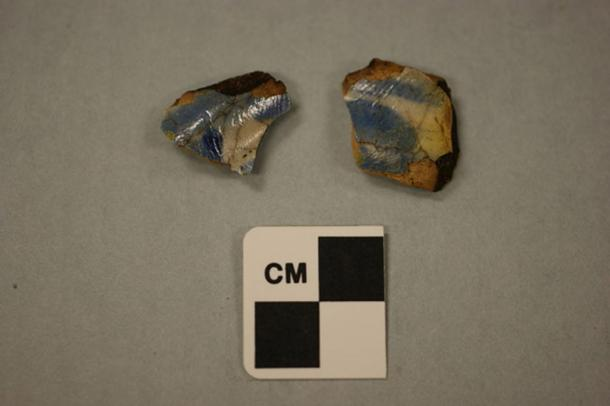 The two pieces of pottery, possibly of a medicine jar, that archaeologists are saying may have belonged to members of the lost colony of Roanoke.