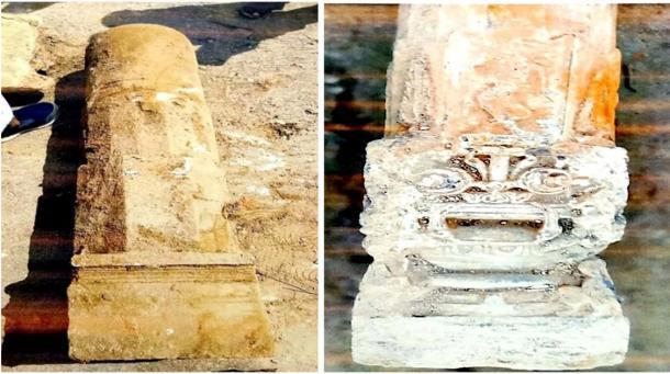 Two the pillars excavated at the Ayodhya site. (Shri Ram Janmbhoomi Teerth Kshetra Trust)