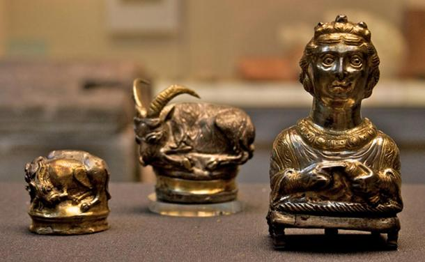 Three silver-gilt Roman (piperatoria) or pepper pots from the Hoxne Hoard of Roman Britain