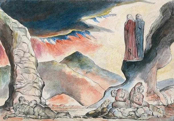 The pit of disease, the falsifiers (1824), William Blake