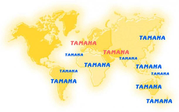 Map of places around the world named Tamana