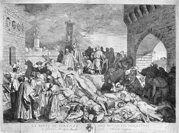 The plague in Florence, 1348, as described in Boccaccio's 'Decameron'; etching by L. Sabatelli.