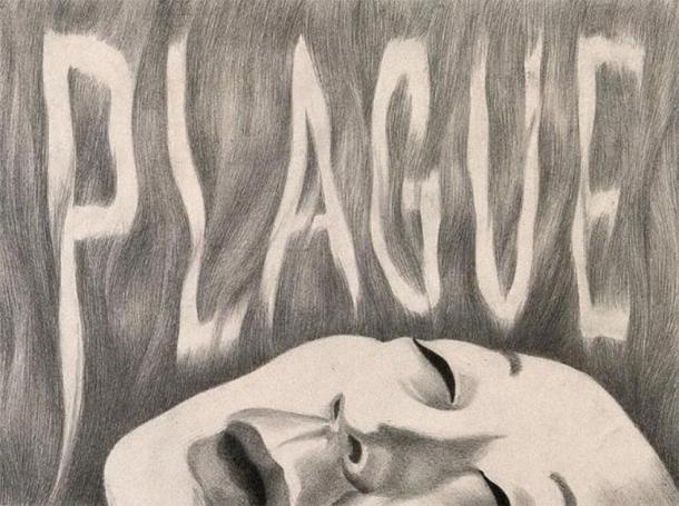 "The word ""plague"" hovers above a victim's face. Drawing by A.L. Tarter, 194-. (CC BY 4.0)"