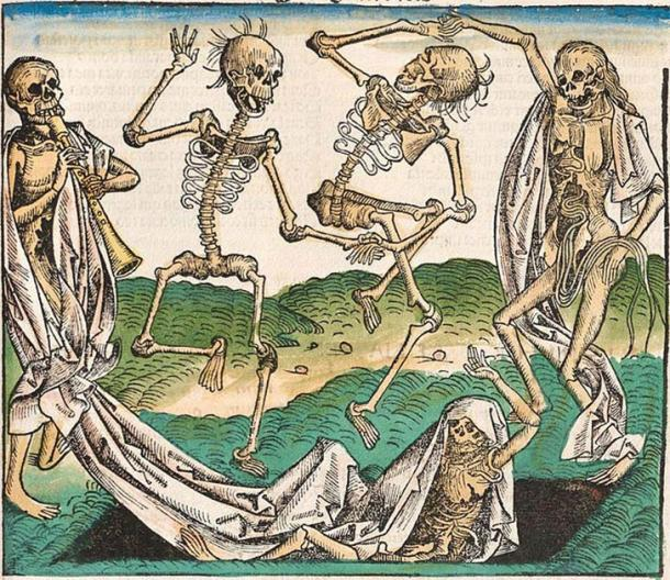 At a time when the plague was sweeping across Europe killing millions, people began to fear that plague victims might come back to haunt the living. Image from the Nuremberg Chronicle, an illustrated encyclopedia completed in 1493. (Public domain)