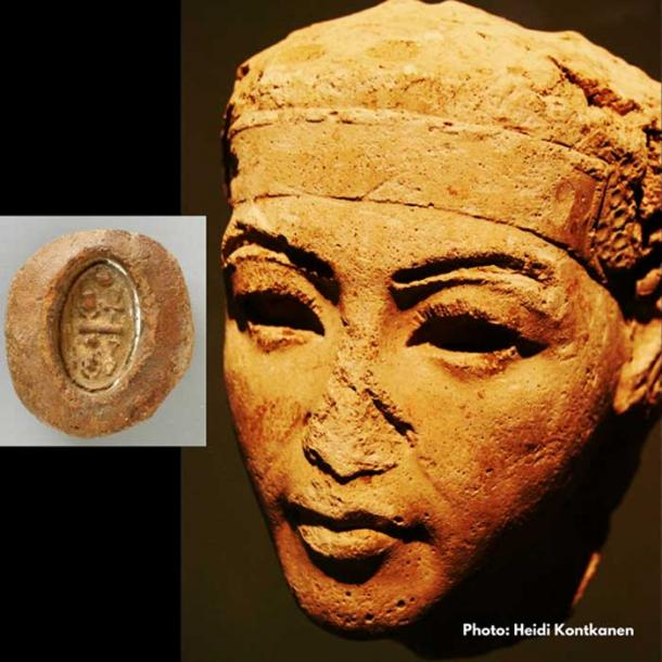 A plaster face-study identified as King Smenkhkare from the Neues Museum, Berlin. (Inset) A terracotta mold with the throne name of this ephemeral ruler. Los Angeles County Museum of Art.