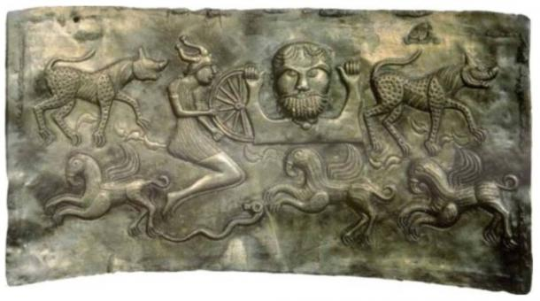 A plate of The Dagda, representing the legendary members of the Tuatha Dé Danann