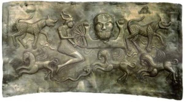 A plate of The Dagda, representing the legendary members of the Tuatha Dé Danann.