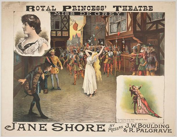 The plight of Jane Shore depicted in plays written by Sir Thomas More and other playwriters.