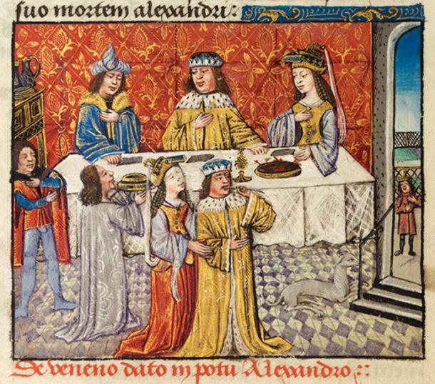 The poisoning of Alexander depicted in the 15th century romance The History of Alexander's Battles. Alexander and his queen at table, and again in the foreground with a feather in his throat after being poisoned, 323 BC