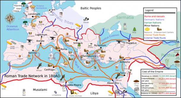 A political map of Europe in 180 AD showing various Roman trade routes and important trade goods such as salt.