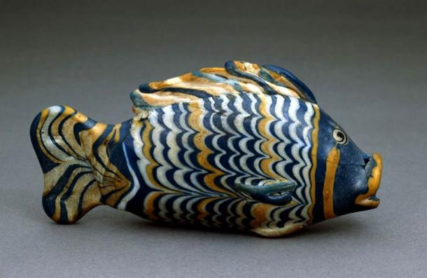 A polychrome glass fish-form vessel recovered from Amarna, now in the British Museum. (British Museum)