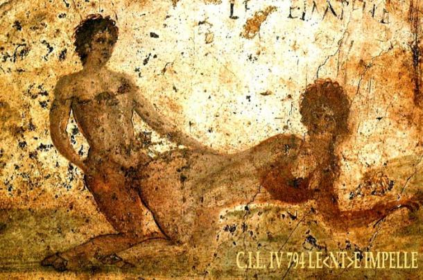 One of the sexually explicit frescoes that shocked the re-discoverers of Pompeii in the latge 1500s