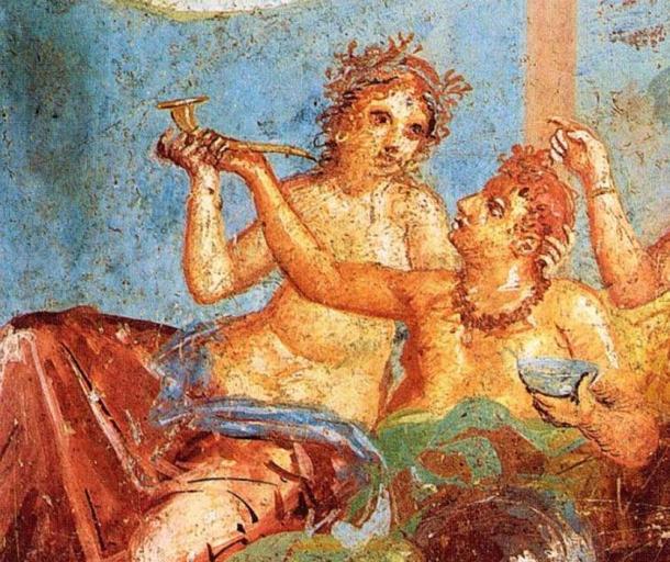 Roman fresco with a banquet scene from the Casa dei Casti Amanti, Pompeii (Public Domain)