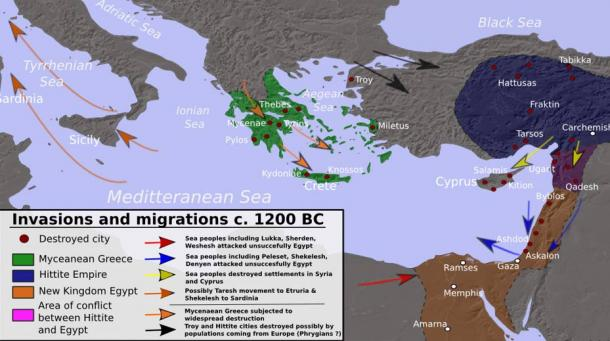 Invasions, destructions and possible population movements during the collapse of the Bronze Age, ca. 1200 BC.