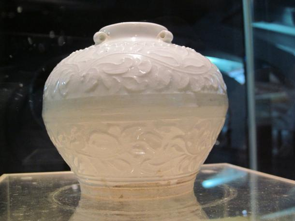 A porcelain pot from the Nanhai No. I. The Guangdong Maritime Silk Road Museum (Nanhai No. 1 Museum), Yangjiang, Guangdong Province, China.