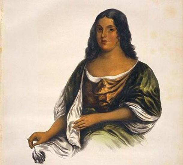 An imaginary portrait of Pocahontas. McKenney, Thomas Loraine, 1785-1859 & Hall, James, 1793-1868.