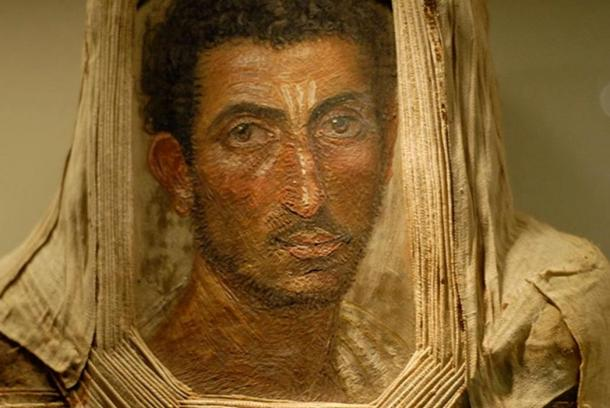 Mummy portrait of a bearded man, encaustic on wood, Royal Museum of Scotland. Excavated in Hawara, Egypt in 1911.