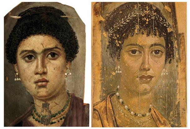 Two other Fayum mummy portraits showing the exact same earrings as the one found by archaeologists in Bulgaria.  (Left: Public Domain; Right: Public Domain)
