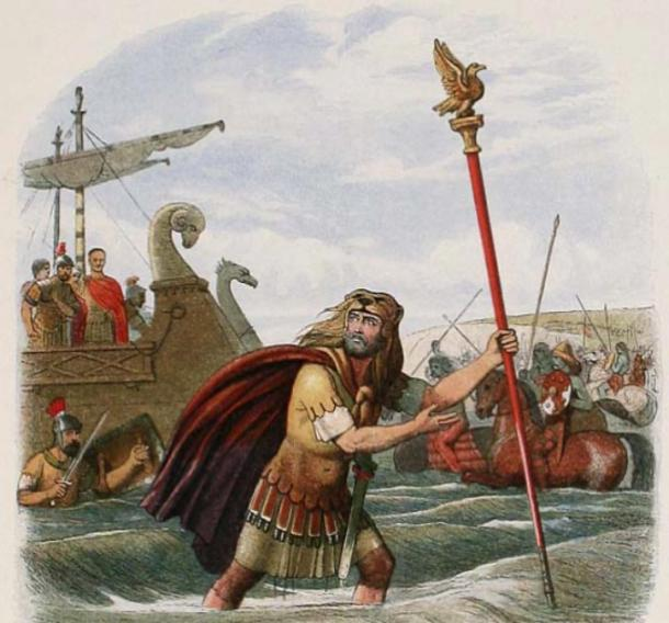 A portrayal of the Roman Tenth Legion's landing at England in 55 BC—the standard-bearer leaped ashore, inspiring the rest to follow – (James William Edmund Doyle / Public domain)