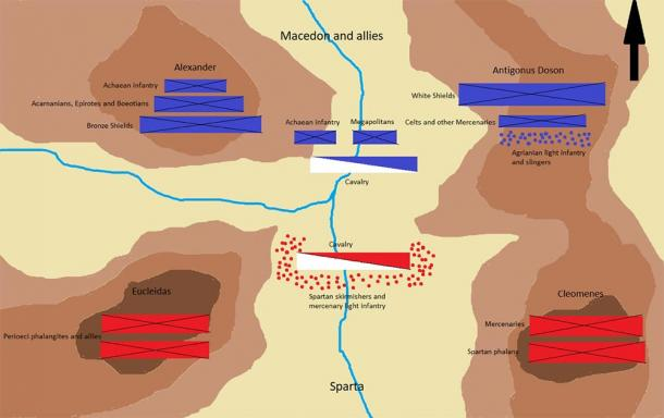 The initial positions of the Battle of Sellasia where the Achaean League fought the Spartans. (Leonidas1206 / CC BY-SA 4.0)