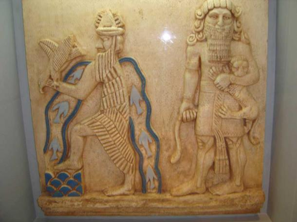 A possible depiction of Enki and Ziusudra.