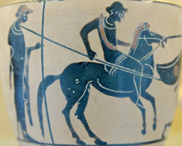This pot, which was made in Selinunte, shows a rider with a spear and an attendant.