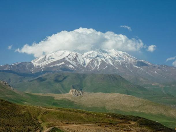 Mount Damavand is a 'potentially active' volcano, and the highest peak in Iran. Gol-e-Zard Cave is nearby. Vasile Ersek, Author provided