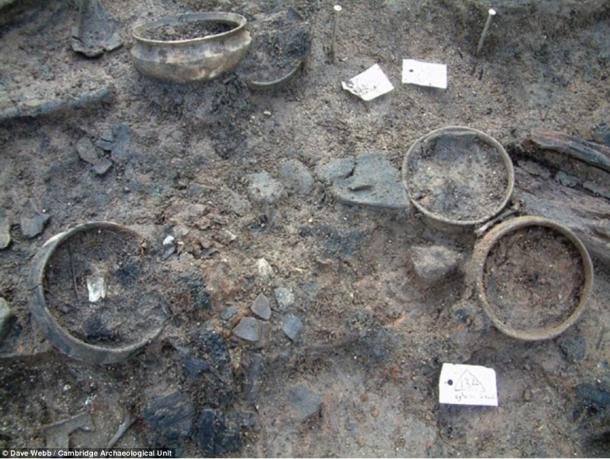 Some of the pots discovered in the archaeological dig at Must Farm Quarry in Cambridgeshire.