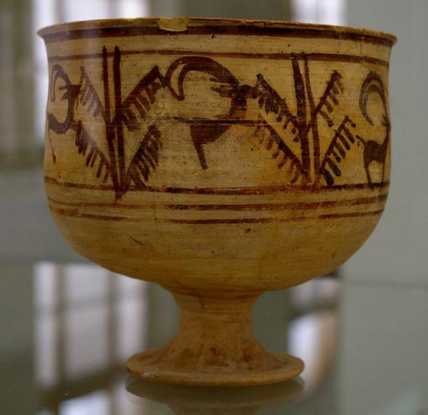 Animation pottery vessel found in Shahr-i Sokhta, Iran. A goat eats from a tree in the images. Late half of 3rd millennium B.C.